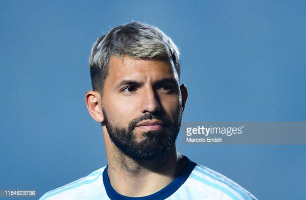Sergio Aguero of Argentina looks on during a friendly match between Argentina and Nicaragua at Estadio San Juan del Bicentenario on June 07, 2019 in...