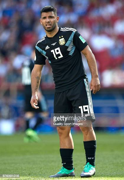 Sergio Aguero of Argentina looks on during the 2018 FIFA World Cup Russia group D match between Argentina and Iceland at Spartak Stadium on June 16...