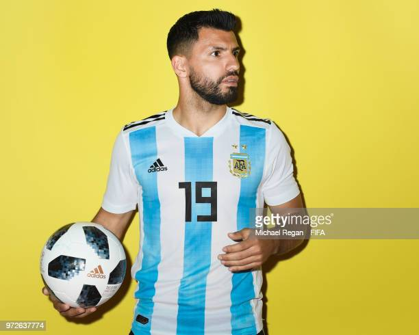 Sergio Aguero of Argentina poses during the official FIFA World Cup 2018 portrait session at on June 12 2018 in Moscow Russia