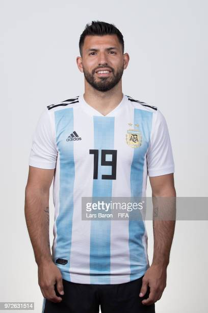 Sergio Aguero of Argentina poses for a portrait during the official FIFA World Cup 2018 portrait session on June 12 2018 in Moscow Russia