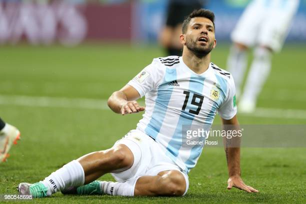 Sergio Aguero of Argentina reacts during the 2018 FIFA World Cup Russia group D match between Argentina and Croatia at Nizhny Novgorod Stadium on...