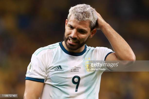 Sergio Aguero of Argentina reacts during the Copa America Brazil 2019 Semi Final match between Brazil and Argentina at Mineirao Stadium on July 02,...