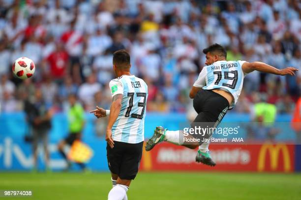 Sergio Aguero of Argentina scores a goal to make it 43 during the 2018 FIFA World Cup Russia Round of 16 match between France and Argentina at Kazan...