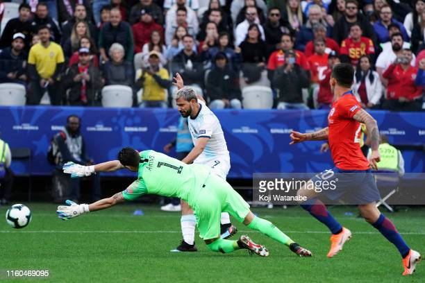Sergio Aguero of Argentina scores his side's first goal 10 during the Copa America Brazil 2019 Third Place match between Argentina and Chile at Arena...