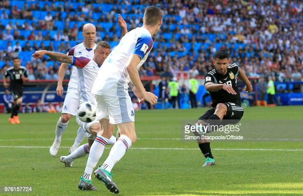 Sergio Aguero of Argentina scores their first goal during the 2018 FIFA World Cup Russia group D match between Argentina and Iceland at Spartak...