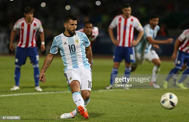 Sergio Aguero of Argentina takes a penalty kick to fail during a match between Argentina and Paraguay as part of FIFA 2018 World Cup Qualifiers at...
