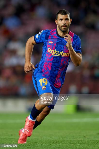 Sergio Aguero of Barcelona during the UEFA Champions League group E match between FC Barcelona and Dinamo Kiev at Camp Nou on October 20, 2021 in...