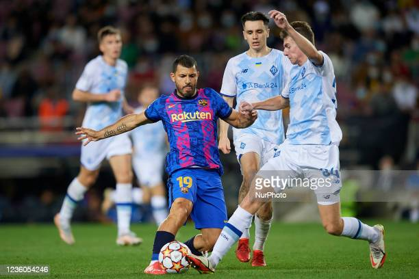 Sergio Aguero of Barcelona in action during the UEFA Champions League group E match between FC Barcelona and Dinamo Kiev at Camp Nou on October 20,...