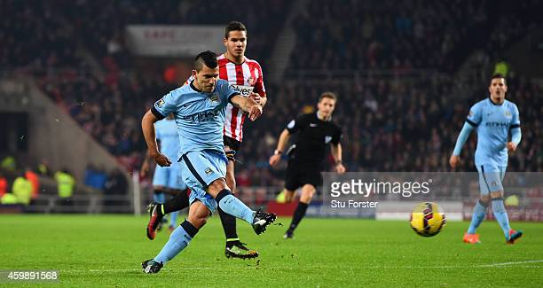 Sergio Aguero of City scores the first City goal during the Barclays Premier League match between Sunderland and Manchester City at Stadium of Light...