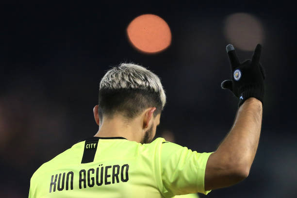 Sergio Aguero of Man City celebrates after scoring their 1st goal during the FA Cup Fifth Round match between Sheffield Wednesday and Manchester City...
