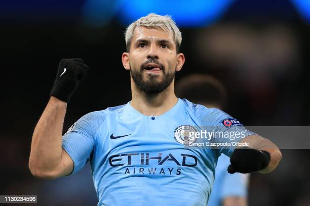 Sergio Aguero of Man City celebrates after scoring their 2nd goal during the UEFA Champions League Round of 16 Second Leg match between Manchester...
