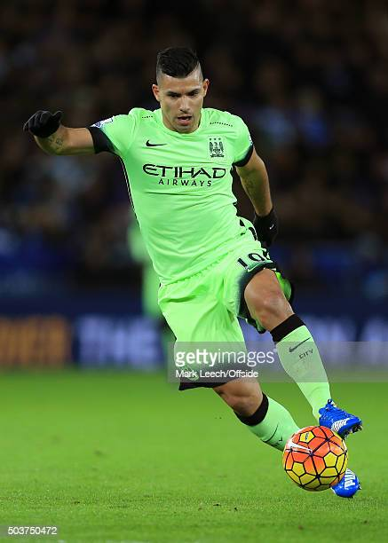 Sergio Aguero of Man City in action during the Barclays Premier League match between Leicester City and Manchester City at the King Power Stadium on...