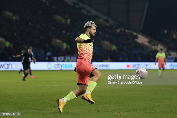 Sergio Aguero of Man City in action during the FA Cup Fifth Round match between Sheffield Wednesday and Manchester City at Hillsborough on March 4...