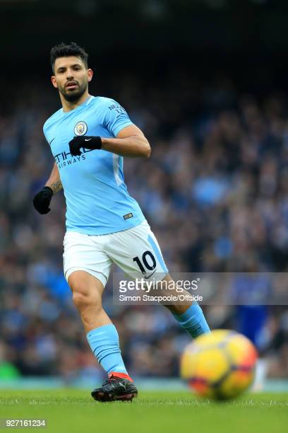 Sergio Aguero of Man City in action during the Premier League match between Manchester City and Chelsea at the Etihad Stadium on March 4 2018 in...