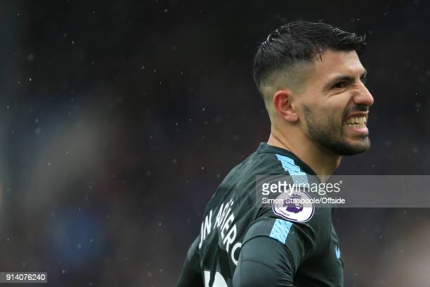 Sergio Aguero of Man City looks dejected during the Premier League match between Burnley and Manchester City at Turf Moor on February 3 2018 in...