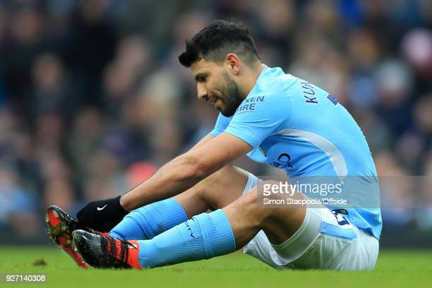 Sergio Aguero of Man City looks dejected during the Premier League match between Manchester City and Chelsea at the Etihad Stadium on March 4 2018 in...