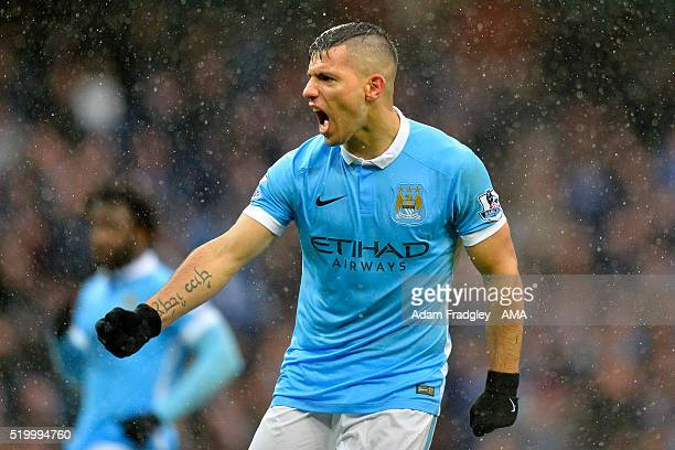 Sergio Aguero of Manchester City Academy celebrates scoring a penalty kick to make the score 11 during the Barclays Premier League match between...