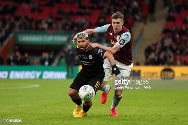 Sergio Aguero of Manchester City and Bjorn Engels of Aston Villa during the Carabao Cup Final between Aston Villa and Manchester City at Wembley...