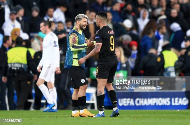 Sergio Aguero of Manchester City and Gabriel Jesus of Manchester City celebrate following their sides victory in the UEFA Champions League round of...
