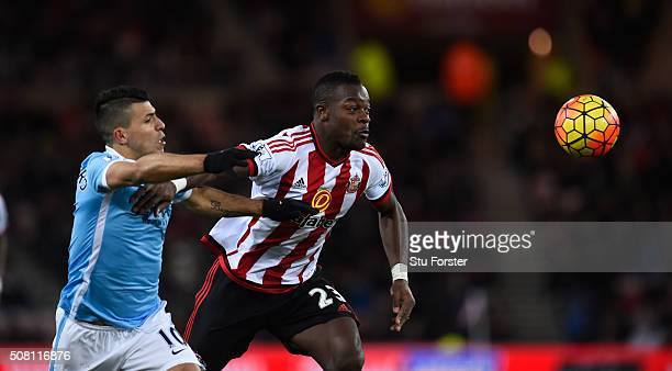 Sergio Aguero of Manchester City and Lamine Kone of Sunderland compete for the ball during the Barclays Premier League match between Sunderland and...