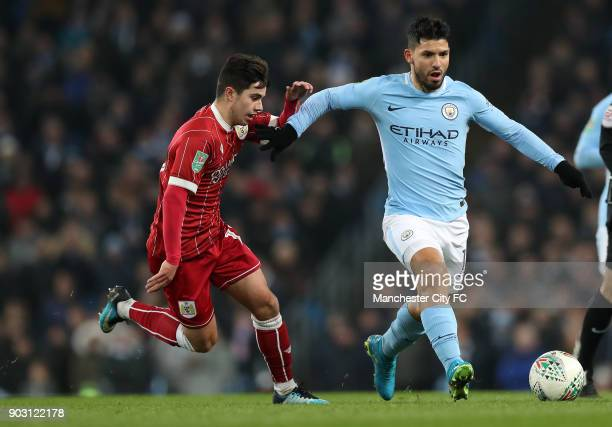 Sergio Aguero of Manchester City and Liam Walsh of Bristol City during the Carabao Cup SemiFinal First Leg between Manchester City and Brostol City...