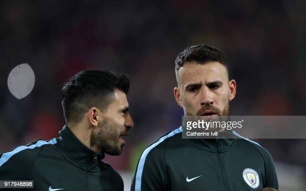 Sergio Aguero of Manchester City and Nicolas Otamendi of Manchester City during the UEFA Champions League Round of 16 First Leg match between FC...