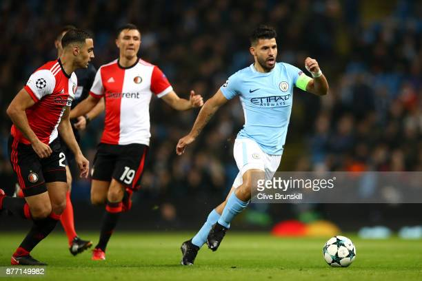 Sergio Aguero of Manchester City and Steven Berghuis of Feyenoord in action during the UEFA Champions League group F match between Manchester City...