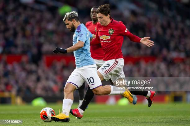 Sergio Aguero of Manchester City and Victor Lindelof of Manchester United during the Premier League match between Manchester United and Manchester...