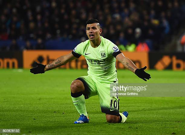 Sergio Aguero of Manchester City appeals after he is challenged in the penalty area during the Barclays Premier League match between Leicester City...