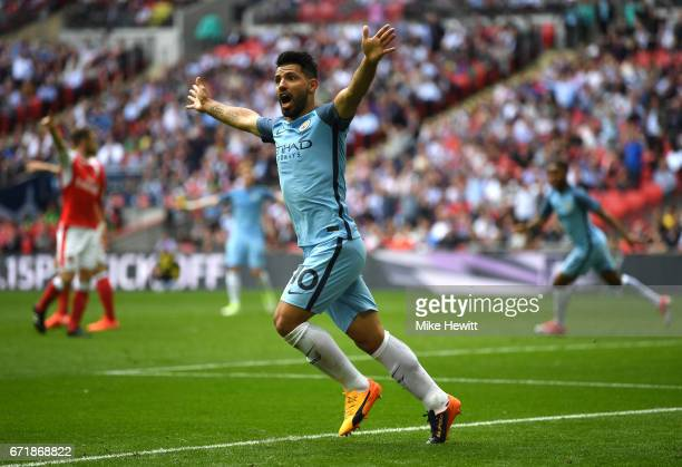 Sergio Aguero of Manchester City appeals to an assistant referee after the disallowed goal during the Emirates FA Cup SemiFinal match between Arsenal...
