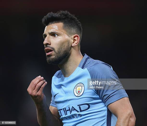 Sergio Aguero of Manchester City argues with the referee during the EFL Cup Fourth Round match between Manchester United and Manchester City at Old...