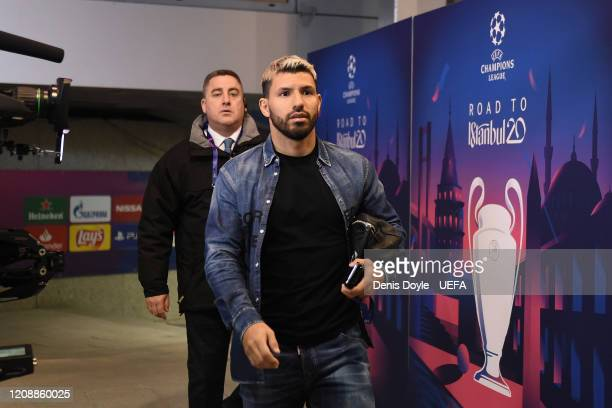 Sergio Aguero of Manchester City arrives at estadio Santiago Bernabeu ahead of the UEFA Champions League round of 16 first leg match between Real...