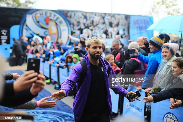 Sergio Aguero of Manchester City arrives at the stadium ahead of the Premier League match between Manchester City and Southampton FC at Etihad...