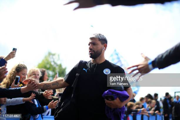 Sergio Aguero of Manchester City arrives at the stadium prior to the Premier League match between Manchester City and Brighton Hove Albion at Etihad...