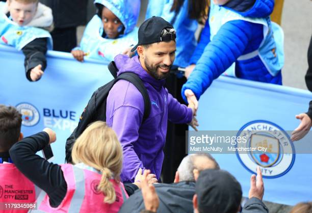Sergio Aguero of Manchester City arrives at the stadium prior to the Premier League match between Manchester City and Wolverhampton Wanderers at...