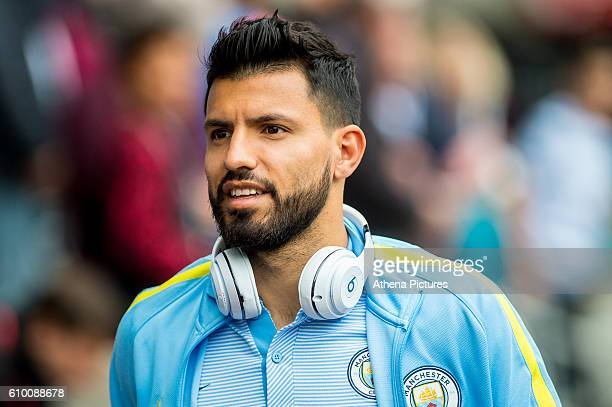 Sergio Aguero of Manchester City arrives at the stadium prior to the Premier League match between Swansea City and Manchester City at The Liberty...