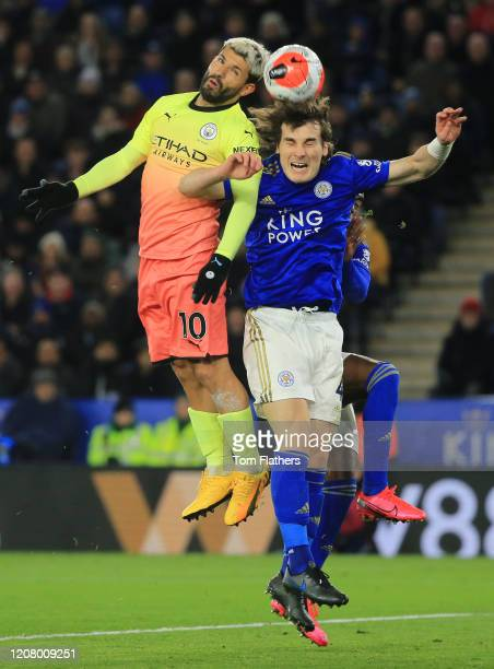 Sergio Aguero of Manchester City battles for possession with Caglar Soyuncu of Leicester City during the Premier League match between Leicester City...