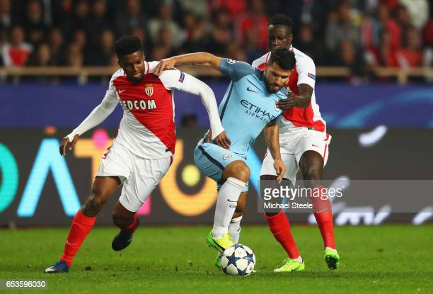 Sergio Aguero of Manchester City battles with Jemerson and Benjamin Mendy of AS Monaco during the UEFA Champions League Round of 16 second leg match...