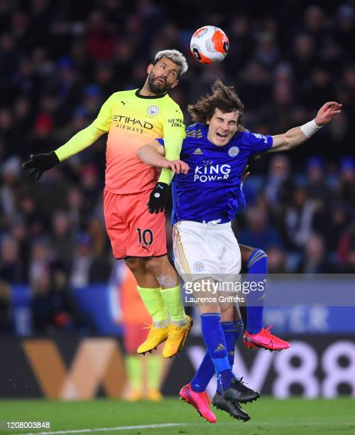 Sergio Aguero of Manchester City beats Caglar Soyuncu of Leicester City to a header during the Premier League match between Leicester City and...