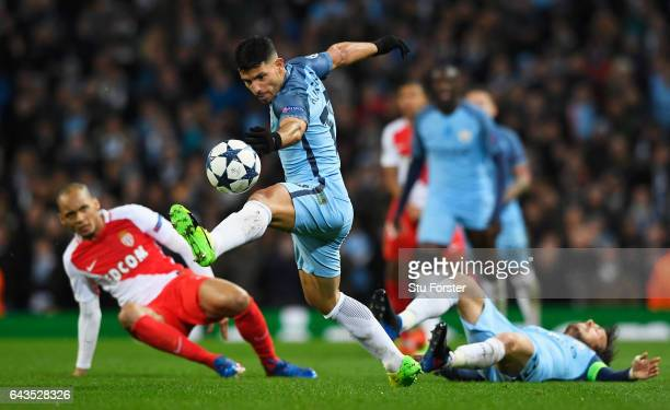 Sergio Aguero of Manchester City beats Fabinho of AS Monaco during the UEFA Champions League Round of 16 first leg match between Manchester City FC...