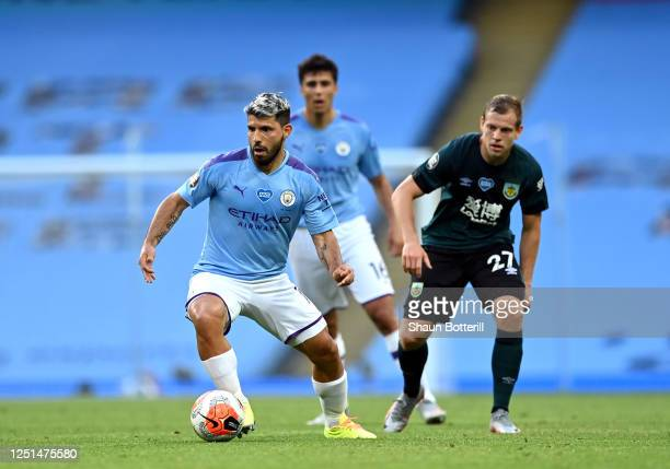 Sergio Aguero of Manchester City breaks with the ball during the Premier League match between Manchester City and Burnley FC at Etihad Stadium on...