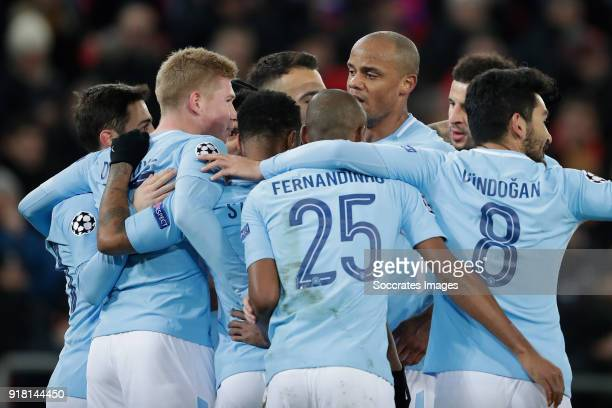 Sergio Aguero of Manchester City celebrates 03 with Kevin de Bruyne of Manchester City Fernandinho of Manchester City Vincent Kompany of Manchester...
