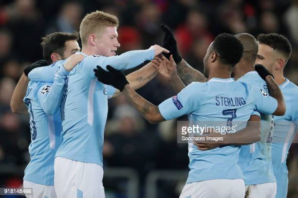 Sergio Aguero of Manchester City celebrates 03 with Kevin de Bruyne of Manchester City Bernardo Silva of Manchester City Raheem Sterling of...
