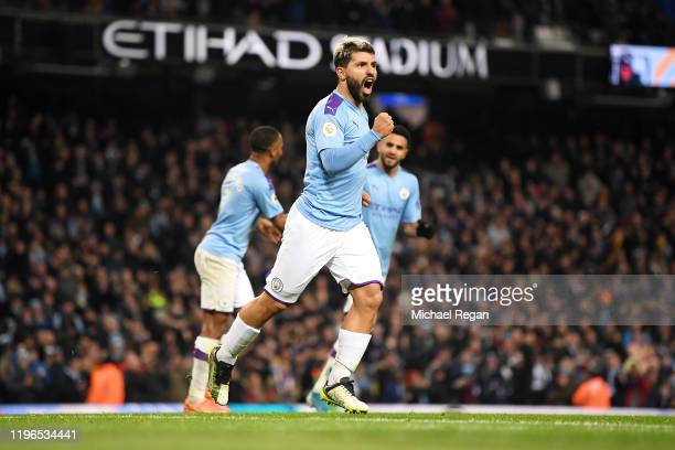Sergio Aguero of Manchester City celebrates after he scores his sides first goal during the Premier League match between Manchester City and...