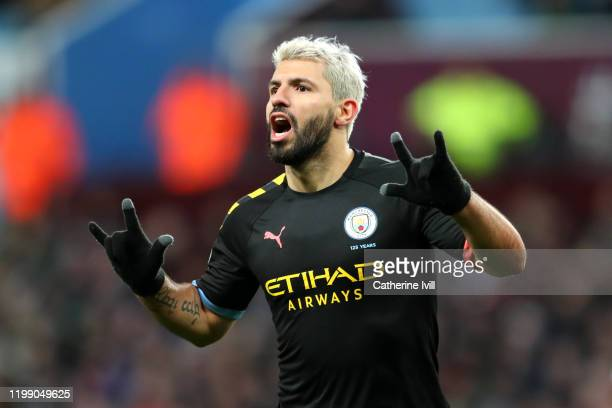 Sergio Aguero of Manchester CIty celebrates after he scores his sides fifth goal during the Premier League match between Aston Villa and Manchester...