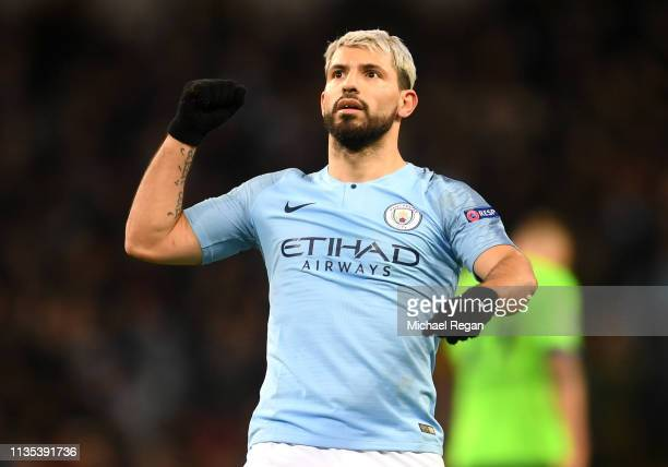 Sergio Aguero of Manchester City celebrates after he scores his team's first goal from the penalty spot during the UEFA Champions League Round of 16...