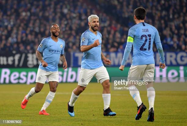 Sergio Aguero of Manchester City celebrates after he scores the opening goal during the UEFA Champions League Round of 16 First Leg match between FC...
