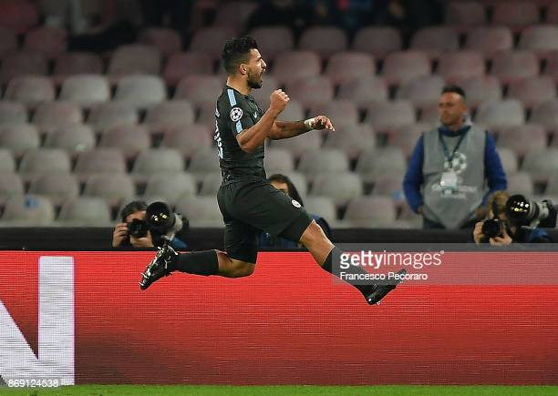 Sergio Aguero of Manchester City celebrates after scoring 23 goal during the UEFA Champions League group F match between SSC Napoli and Manchester...