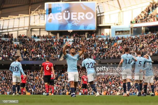 Sergio Aguero of Manchester City celebrates after scoring a goal to make it 20 during the Premier League match between Manchester City and...