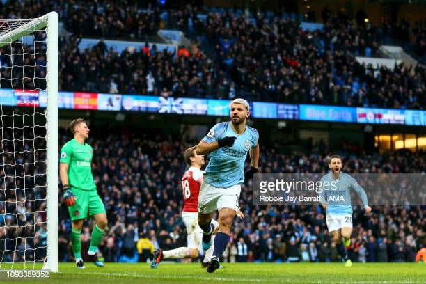 Sergio Aguero of Manchester City celebrates after scoring a goal to make it 10 during the Premier League match between Manchester City and Arsenal FC...